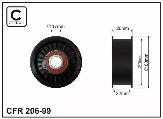 206-99 - Deflection/Guide Pulley, v-ribbed belt