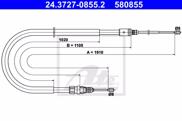 24.3727-0855.2 - Cable, parking brake