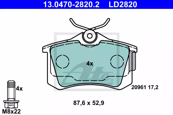 13.0470-2820.2 - Brake Pad Set, disc brake
