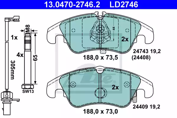 13.0470-2746.2 - Brake Pad Set, disc brake