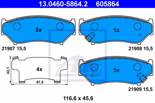 13.0460-5864.2 - Brake Pad Set, disc brake