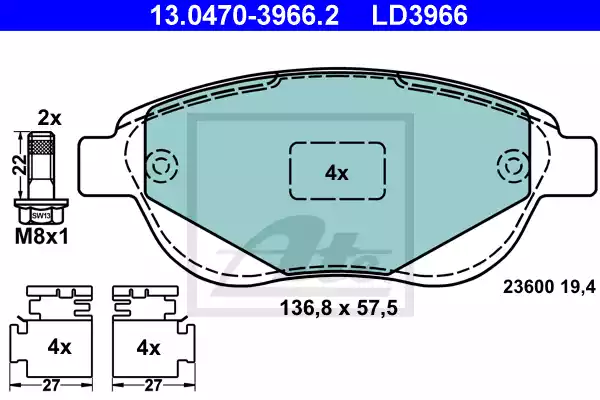 13.0470-3966.2 - Brake Pad Set, disc brake