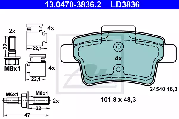 13.0470-3836.2 - Brake Pad Set, disc brake