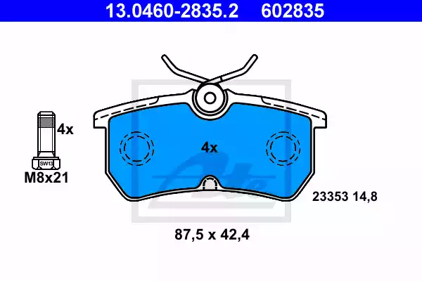 13.0460-2835.2 - Brake Pad Set, disc brake