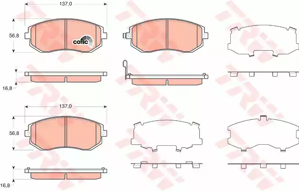 GDB3371 - Piduriklotsi komplekt, ketaspidur