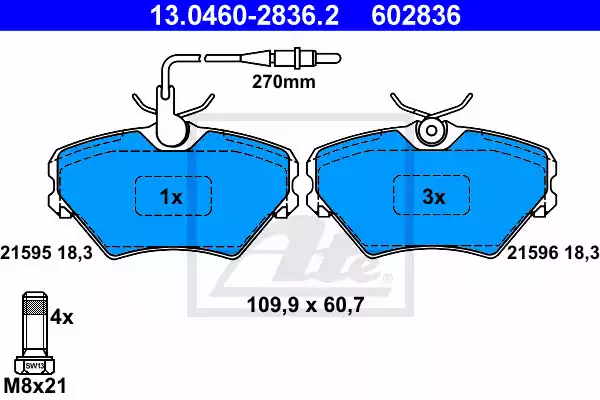 13.0460-2836.2 - Brake Pad Set, disc brake
