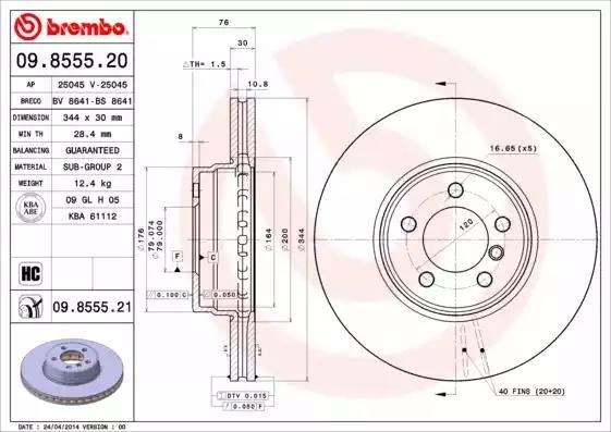 09.8555.20 - Brake Disc