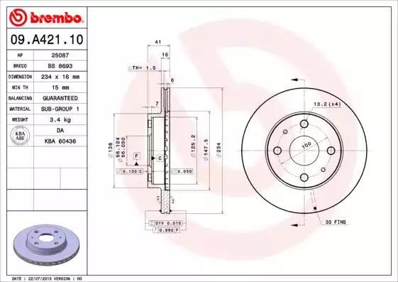 09.A421.10 - Brake Disc